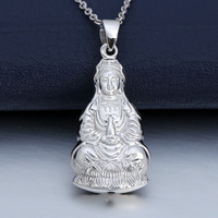 Good Luck Platinum White True Solid Gold PT950 Guanyin Buddha Pendant for Women Female Girl Charm Necklace Fine Office Jewelry
