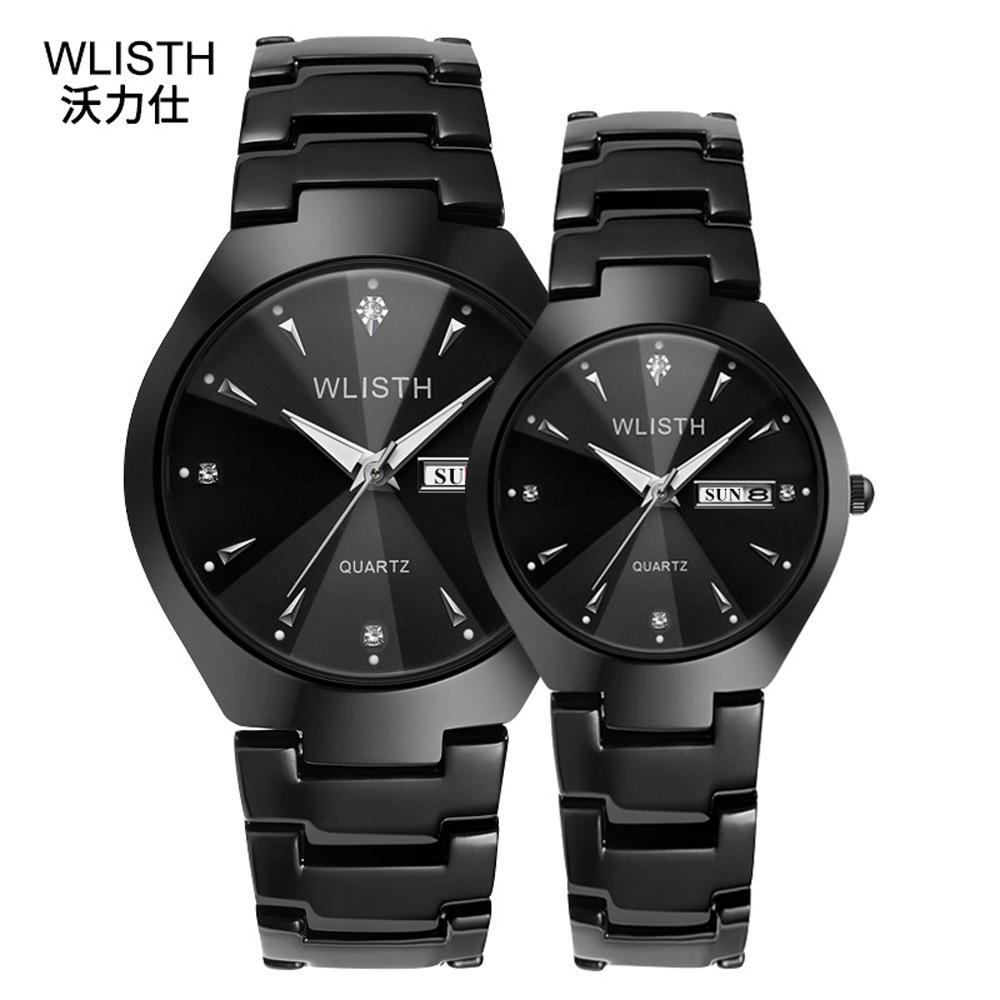 WLISTH High Quality Luxury Business Quartz Watch For Men And Women Wristwatch Black Steel Waterproof Date Week Hour Couple Watch