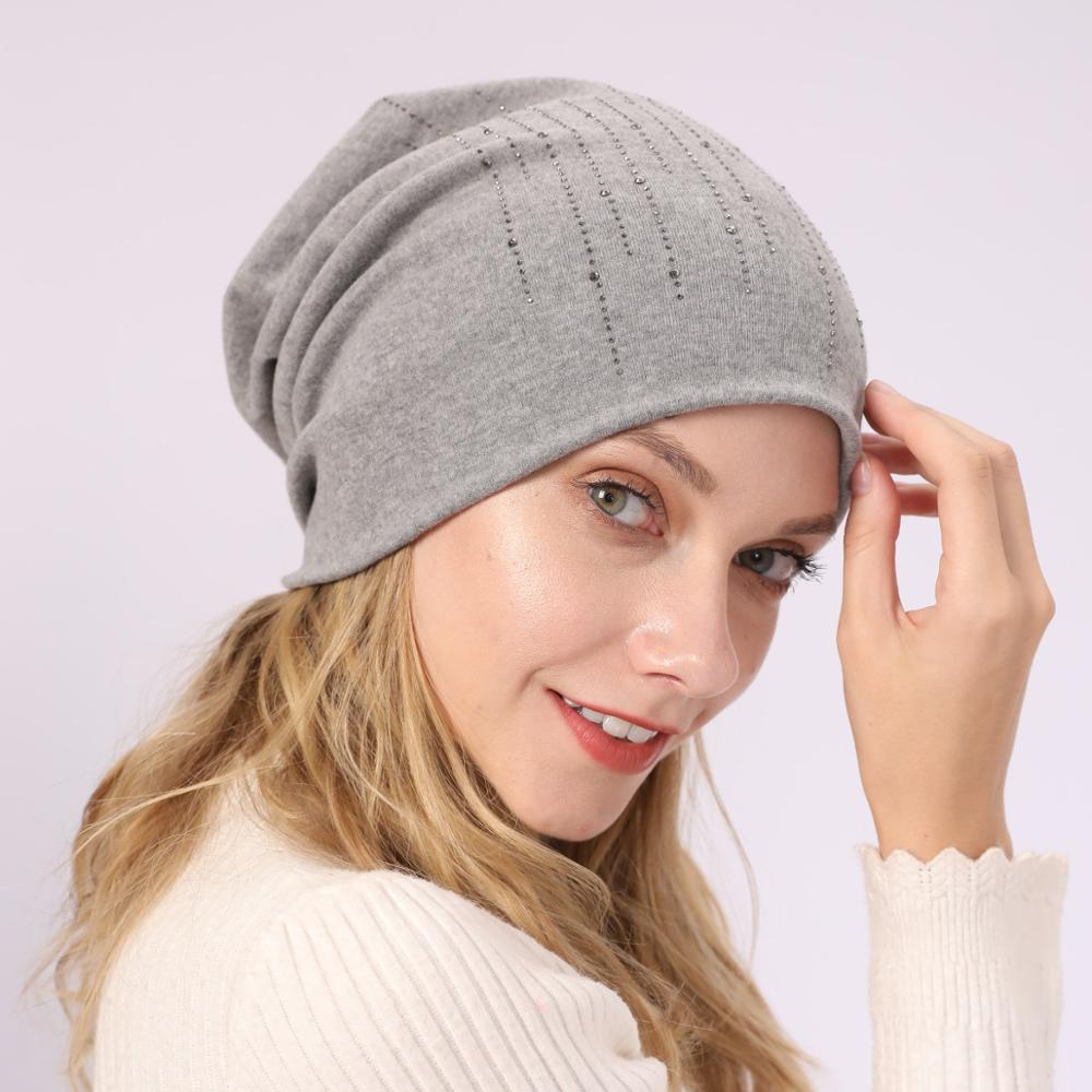 2019 New Women Knit Hat Turban Solid Color Knit   Beanie     Skullies   Ski Cap Stones Spring Winter Warm Hats For Girls