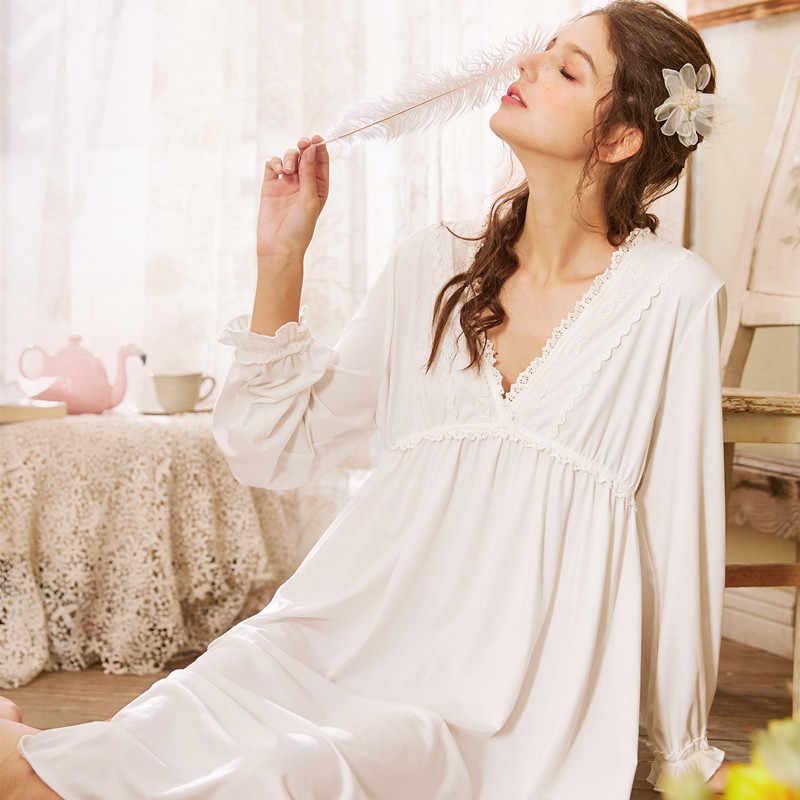 Saray seksi dantel prenses v yaka uzun kollu gecelik kadın kızlar uzun gevşek ince ev giysileri pijama annelik pijama