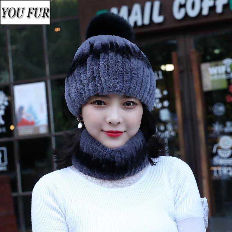 New Fashion Girl Real Fur Cap Lady Quality Winter Natural Real Rex Rabbit Fur Hat Scarf Sets Women 100% Genuine Fur Hat Muffler