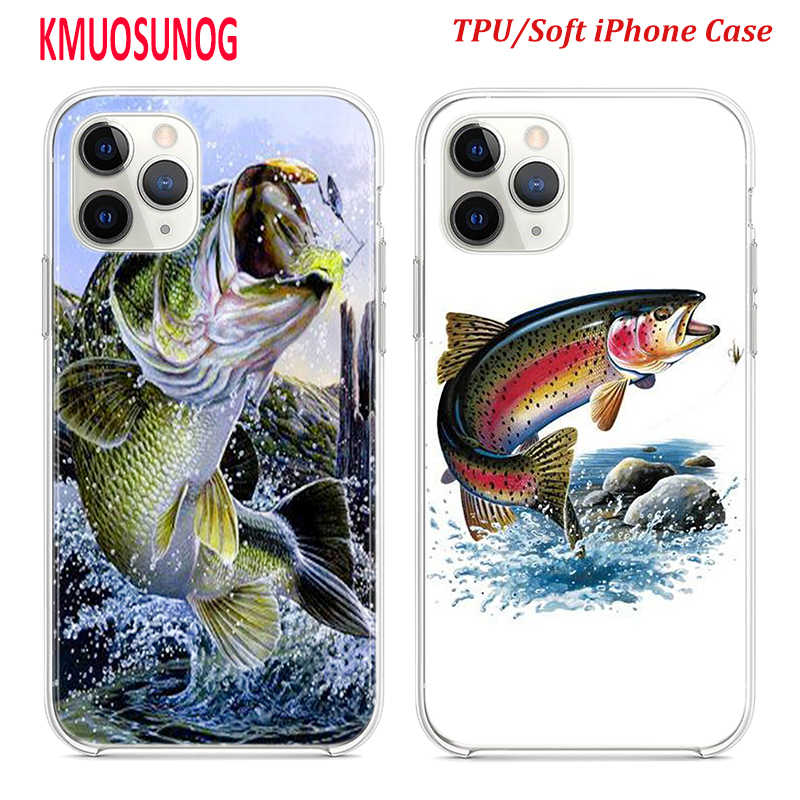 Silicone TPU Cover for iPhone 11 11Pro XS MAX XR X Bass Fishing Lake Fisherman for iPhone 8 7 6S 6 Plus 5S Phone Case