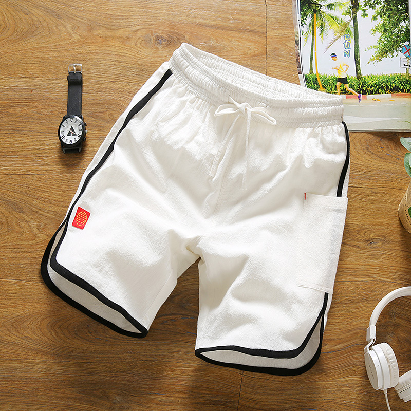 Shorts Men's Summer Loose-Fit Athletic Pants Cool Cotton Linen Shorts Men's Contrast Color Stripes Beach Shorts Summer Large Tru