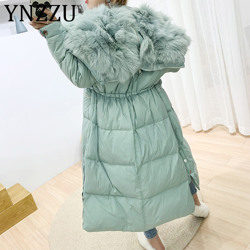 YNZZU 2019 New Winter Luxury Solid Large Real Fur Collar Warm Women's   Down   Jacket Long Light Duck   Down     Coat   Ladies Outwear A1185