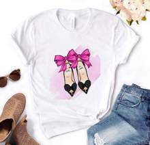 Casual Grappige T-shirt Plus Size Gift Voor Lady Plus Size Yong Meisje Top Tee Schoenen Bow Print Vrouwen T-shirt zomer T-shirts(China)