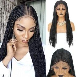 Pelucas trenzadas carisma 13x6, peluca con malla frontal sintética de parte media para mujeres, caja trenzada de pelo largo, peluca con trenzas negras