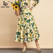 Midi Skirt LINDA DELLA Floral-Print Elegant Designer High-Waist Fashion Women Cotton