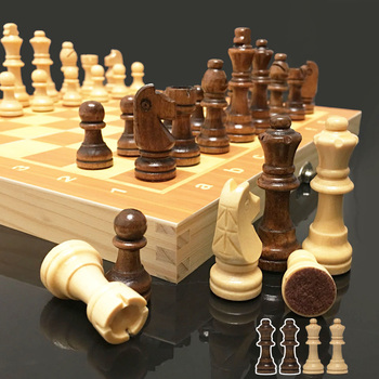 4 Queens Magnetic Chess Wooden Chess Set International Chess Game Wooden Chess Pieces Foldable Wooden Chessboard Gift Toy I55