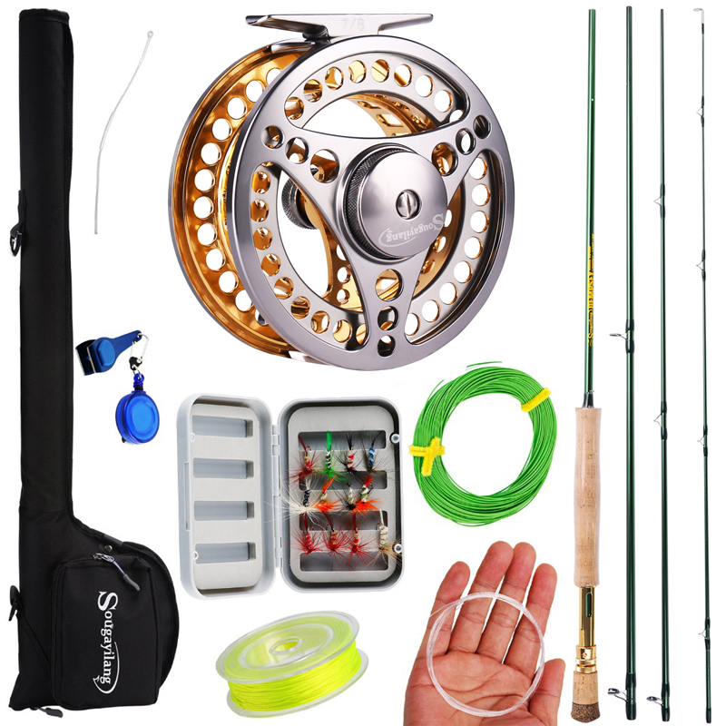 Sougayialng 7/8 Fly Fishing Combo Portable 4 Sections Carbon Fiber Fishing Rod 2+1BB Fly Reel Line Lure Bag Full Accessories Set