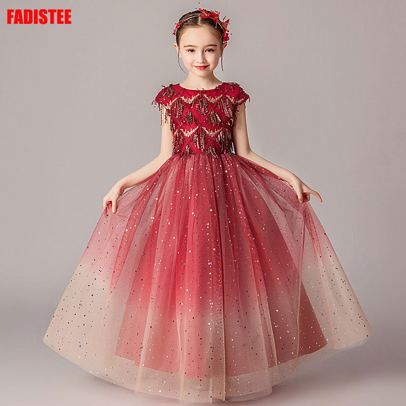 New Arrival Pretty   Flower     Girl     Dresses   lace Baby   Girl     Dress   beads sweet style   dresses   wedding guest   dress   primera comunión