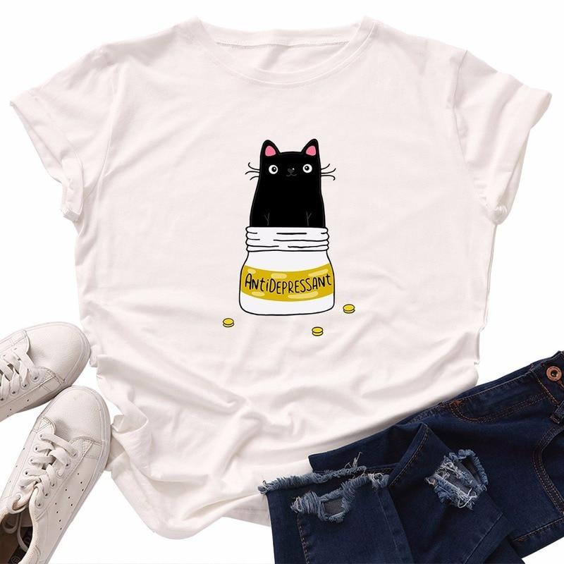 С изображением милой кошечки женская футболка в винтажном стиле; Корейская Стиль Kawaii Эстетическая хлопок размера плюс Skipoem с короткими рукавами в уличном стиле топы, футболки