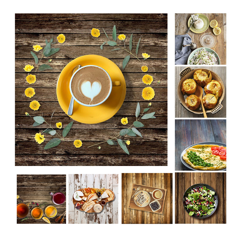 60x60cm Retro Wood Board Texture Photography Background Backdrop Cloth Studio Video Photo Backgrounds Props For Food