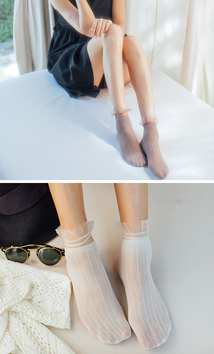 Hb6a944c008f8468b9efac4ef3e56434fj - Transparent Lace Thin Ladies Socks Sweet Velvet Sexy Japanese Summer Women Long Socks Female Dress Hosiery New Fashion Striped