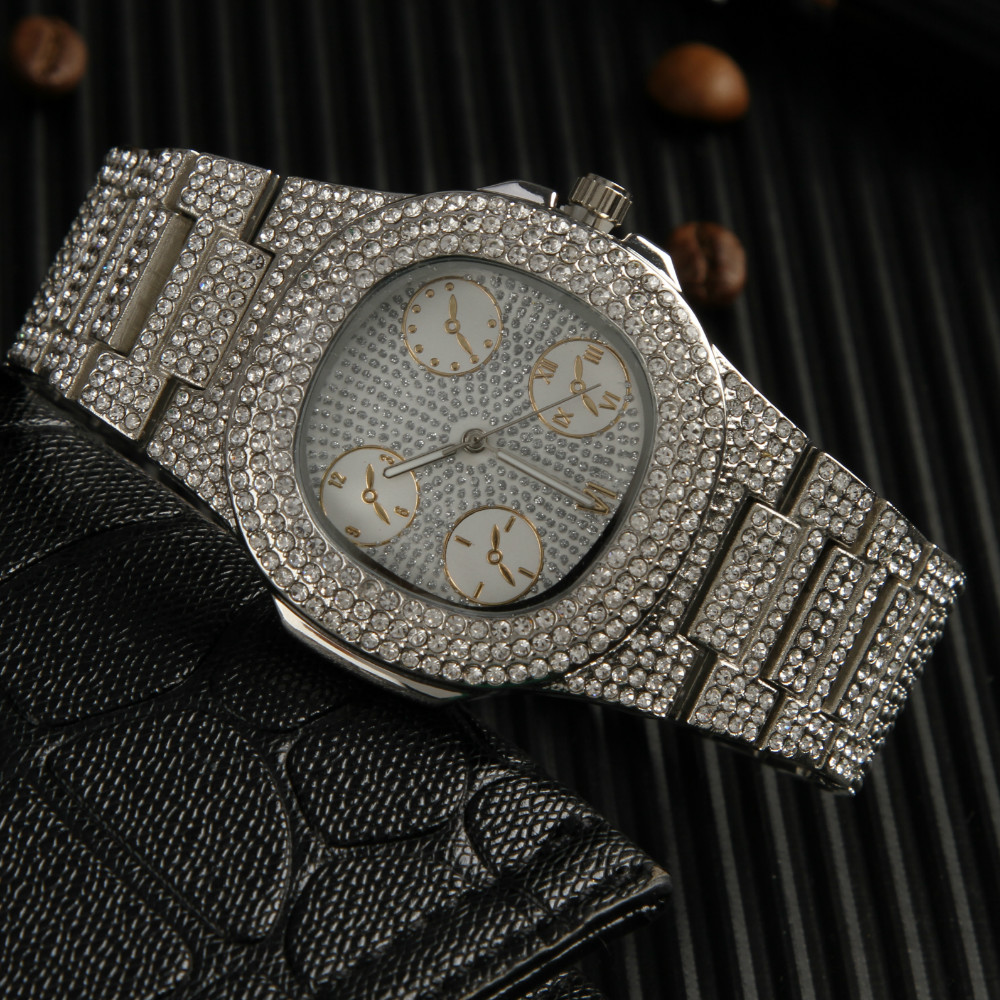 Gold Cuban Iced Out Watch Luxury Brand Diamond Men Watch Top Brand Luxury  Male Quartz Sliver Watch Calender Unique Gift For Men