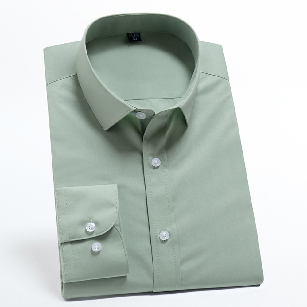 Men Formal Dress Shirt Green Cotton Polyester Long Sleeve Slim Fit New Model Japanese Office Shirts For Men High Quality