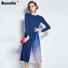 Женское платье свитер banulin Элегантное трикотажное миди с