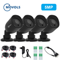 Movols 4 PCS Bullet 5MP Video Waterproof indoor/outdoor IR Nightvision Camera with 60ft CCTV BNC & DCplug Cable for DVR System|Surveillance Cameras| |  -