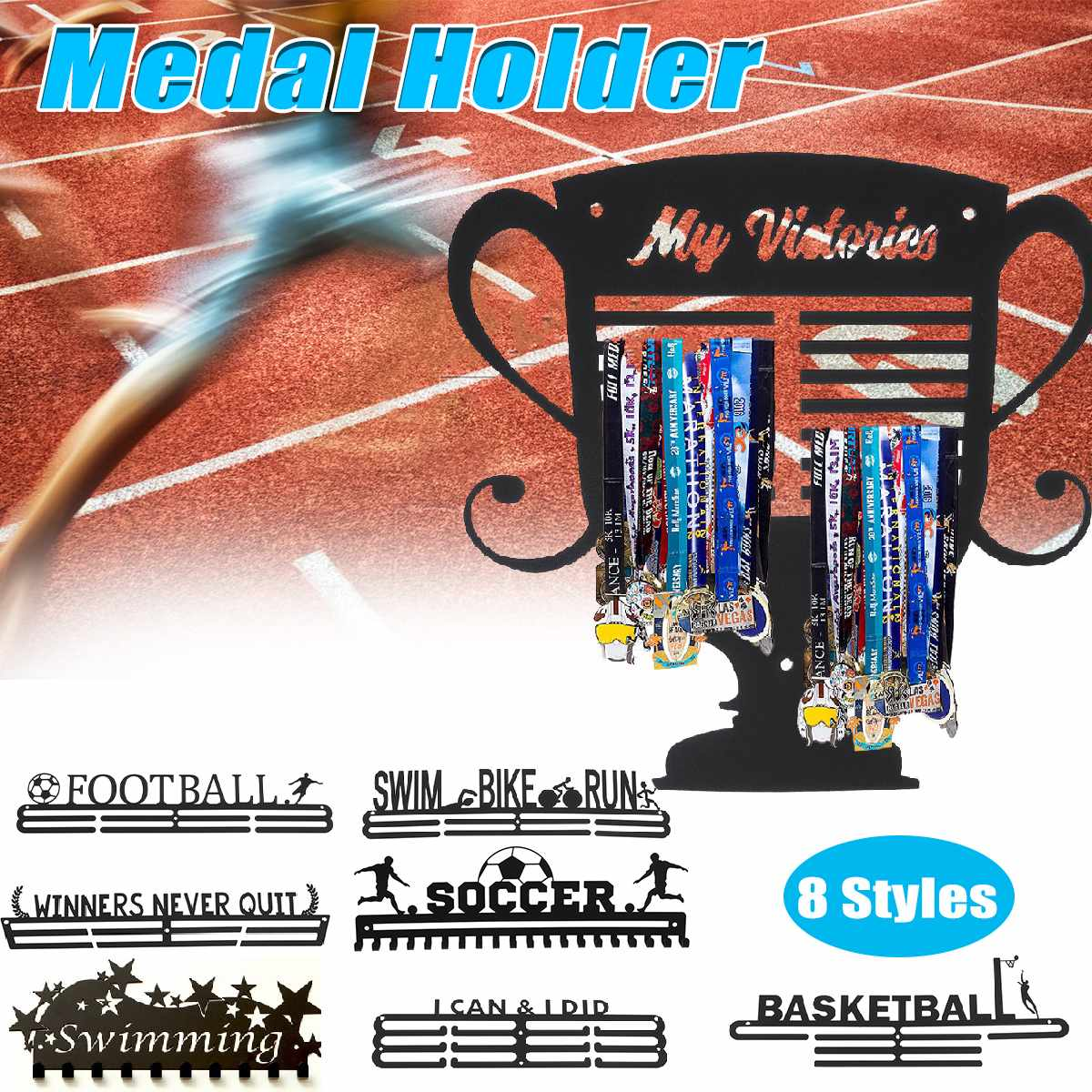 Stainless Steel Medal Hanger Medal Holder Display Rack Running Swimming Gymnastics Marathons Soccer Sport Medal Gift Decoration