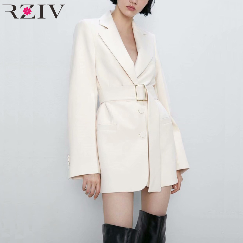 RZIV Autumn And Winter Female White Blazer Suit Leisure Long Section Of Decorative Belt Jacket