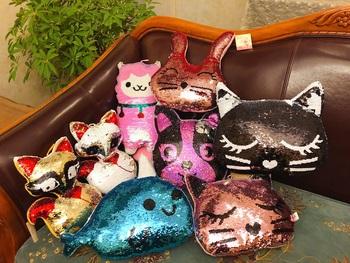 Flip cekinowy kot pies delfin pluszowy królik zabawki miękka poduszka Glitter kot wypchane zwierzęta poduszka na sofę kreatywne dzieci tanie i dobre opinie Pp bawełna 1436