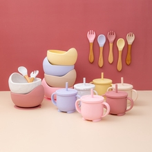 Baby Silicone Bowl Tableware Strong Sucker Bowl Straw cup fork Spoon 4-piece set Cartoon Shape Children Feeding Set