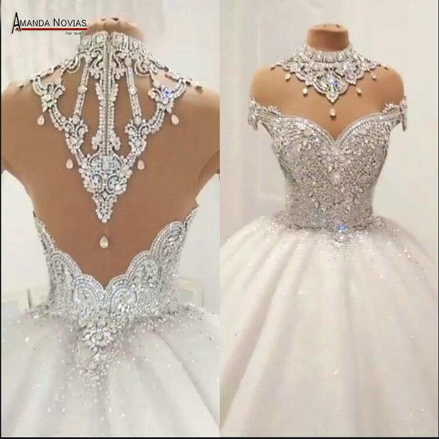 الثقيلة الخرز فستان الزفاف منتفخ الكرة ثوب لا قطار اليد خياطة الخرز فستان الزفاف