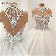 Zware kralen trouwjurk puffy baljurk geen trein hand sew kralen bridal dress