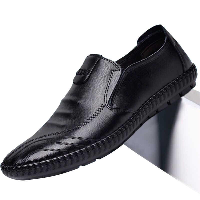 2020 Mới Sang Trọng Nam Da Ổ Da Thật Da Nam Giày Da PU Chân Bằng Giản Đậu Hà Lan Nam giày Lười