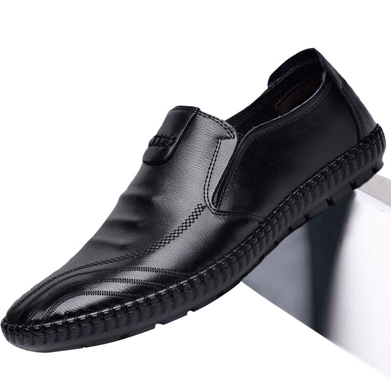 2020 New Luxury Men Leather Drive Shoes Genuine Leather Men's Casual PU Leather Shoes Feet Casual Flat Peas Men's Shoes Lazy
