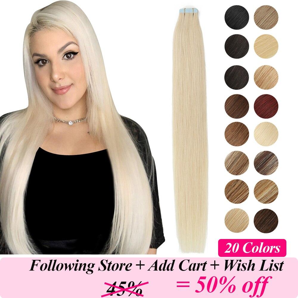 MRSHAIR bant insan saçı postiş cilt atkı sarışın doğal saç makinesi Remy düz kahverengi saç görünmez yapıştırıcılar 20 adet