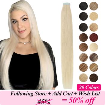 MRSHAIR taśma w doczepy z ludzkich włosów skóra wątek blond naturalne włosy maszyna Remy proste brązowe włosy niewidoczne na kleje 20pc tanie i dobre opinie 2 5 g sztuka Mrs Hair Butterfly Series Los Ángeles Nie remy włosy