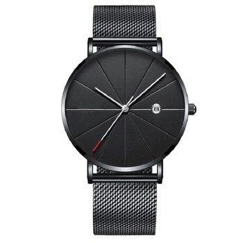 New Luxury Men Business Watch Black Gold Mesh Belt Fashion Casual Date Designer Quartz Wrist Watches Male Clock Reloj Hombre