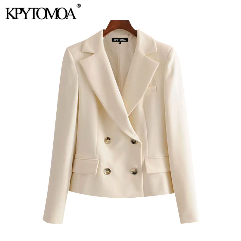 KPYTOMOA Women 2020 Fashion Double Breasted Cropped Blazer Coat Vintage Long Sleeve Pockets Female Outerwear Chic Tops