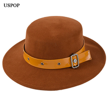 USPOP 2019 new winter wool hats women wide brim fedoras fashion flat top belt decorated female hat