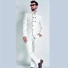 цены Traje de hombre blanco trajes de boda novio Stand Collar Blazer hecho a medida Slim Fit Casual  esmoquin mejor Hombre Trajes de