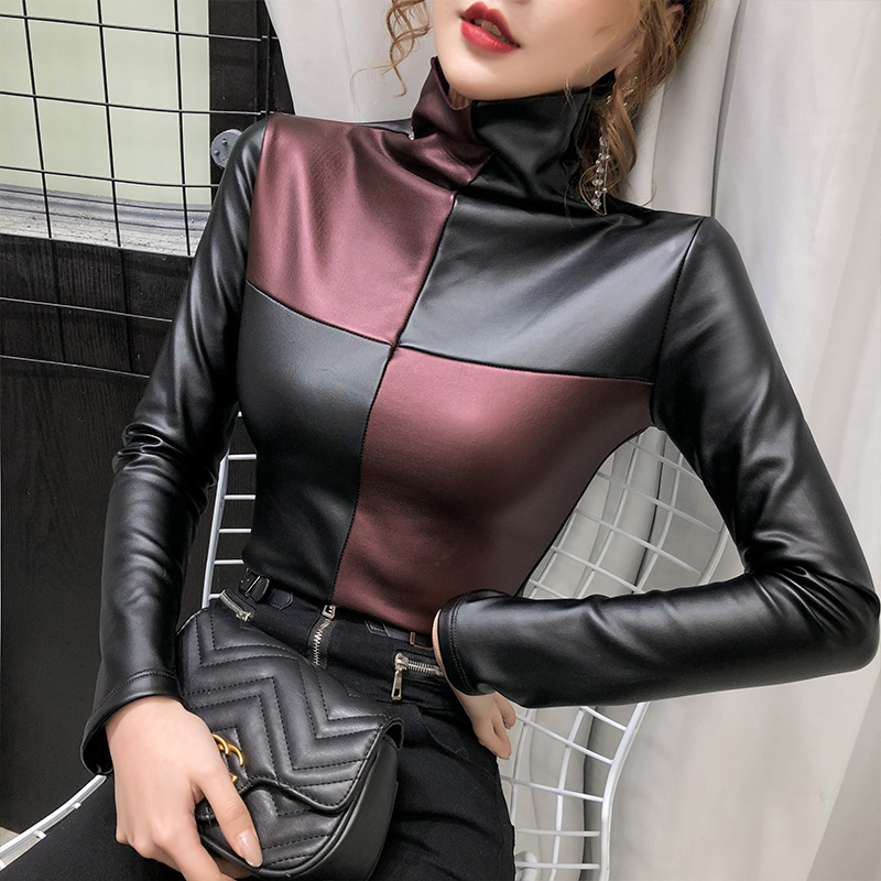 Leather Tshirt Woman 2020 Spring Autumn New Spell Color Sexy Skinny Shirt Plus Velvet Long-Sleeve Stretch Pu Leather T-shirt