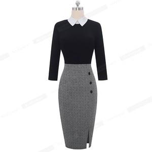 Image 4 - Женское лоскутное Деловое платье Nice forever, элегантное и облегающее платье контрастных цветов для офиса и вечерние, модель B568, 2019