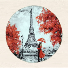 Romantic Paris small round rug for living room pink cotton area rug Eiffel Tower souvenir carpet floor rug bedroom decor