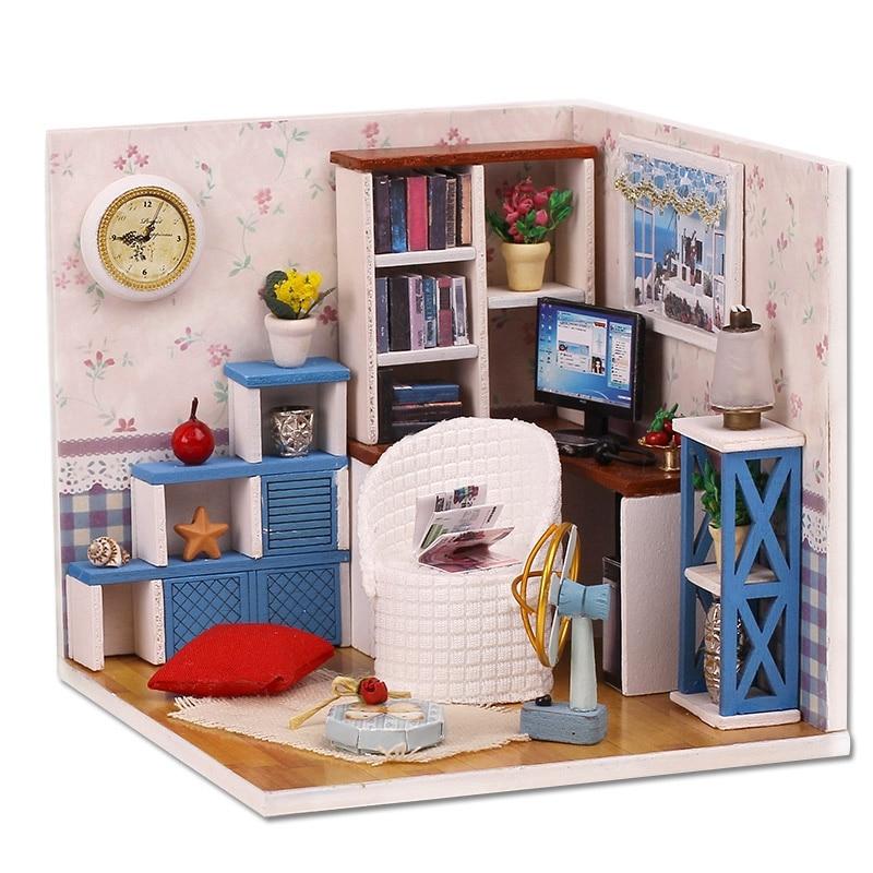 IIECREATE Diy Assemble Mini House Toy Wooden Miniatura Doll Houses Handmade Doll House Toys With Furniture Led Lights Kids Bir