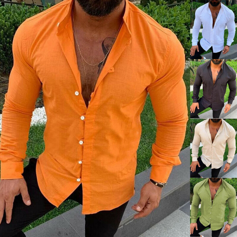 New Arrival Men Vintage Shirt Stand Collar Casual Long Sleeve Top Office Formal Work Cotton Linen Loose Muticolor Clothes Shirts