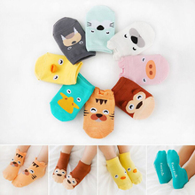 Носки для маленьких мальчиков, хлопковые летние и осенние носки с рисунками животных для новорожденных, нескользящие носки для малышей, короткие носки для девочек 0-2 лет