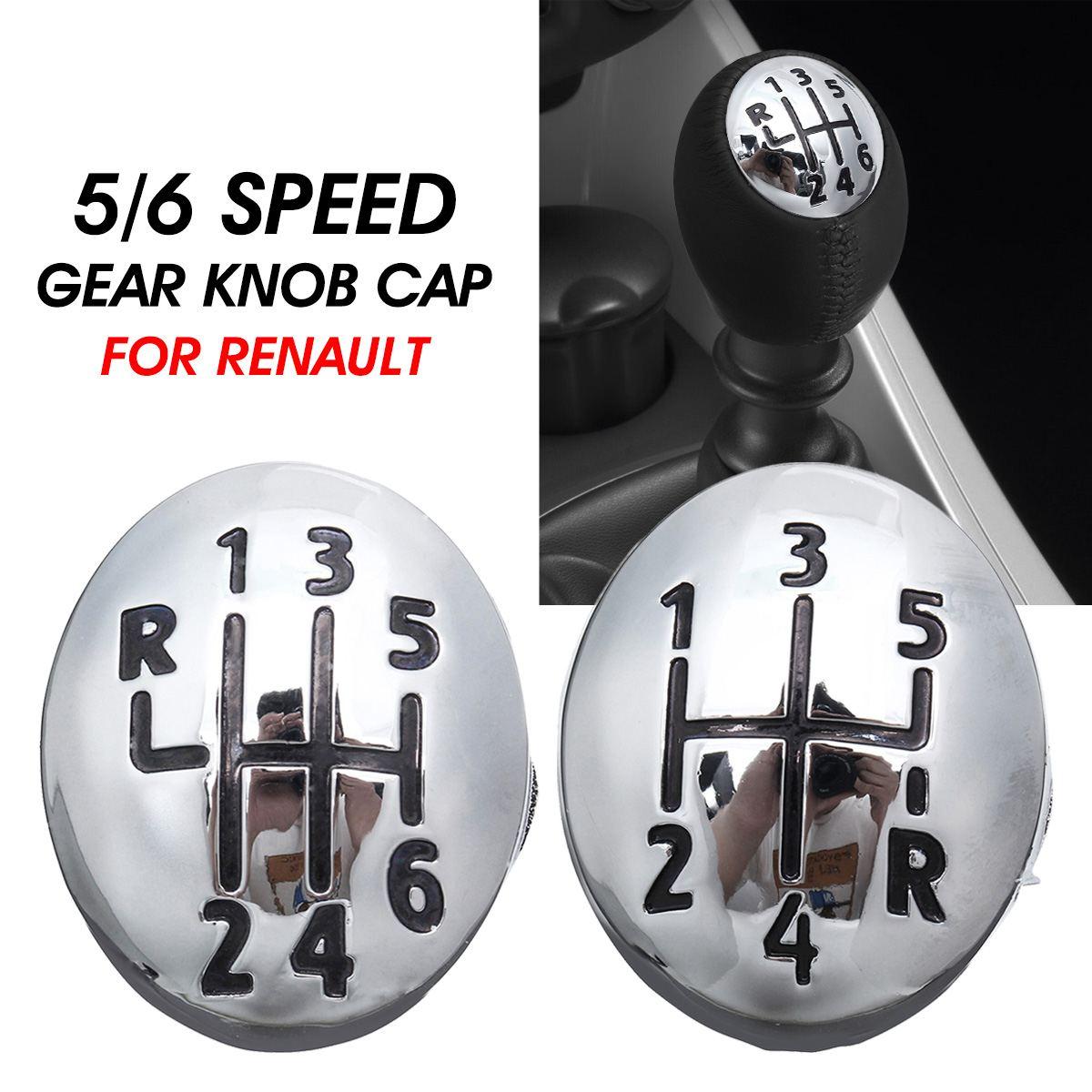Chrome 5/6 Speed Gear Shift Lever Knob Cap Cover For Renault Clio Megane Scenic Twingo Plastic Auto Car
