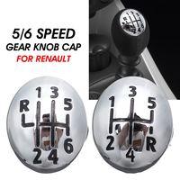 Chrome 5/6 velocidade do deslocamento de engrenagem alavanca botão tampa para renault clio megane scenic twingo plástico carro automóvel|Botão de mudança de marcha| |  -