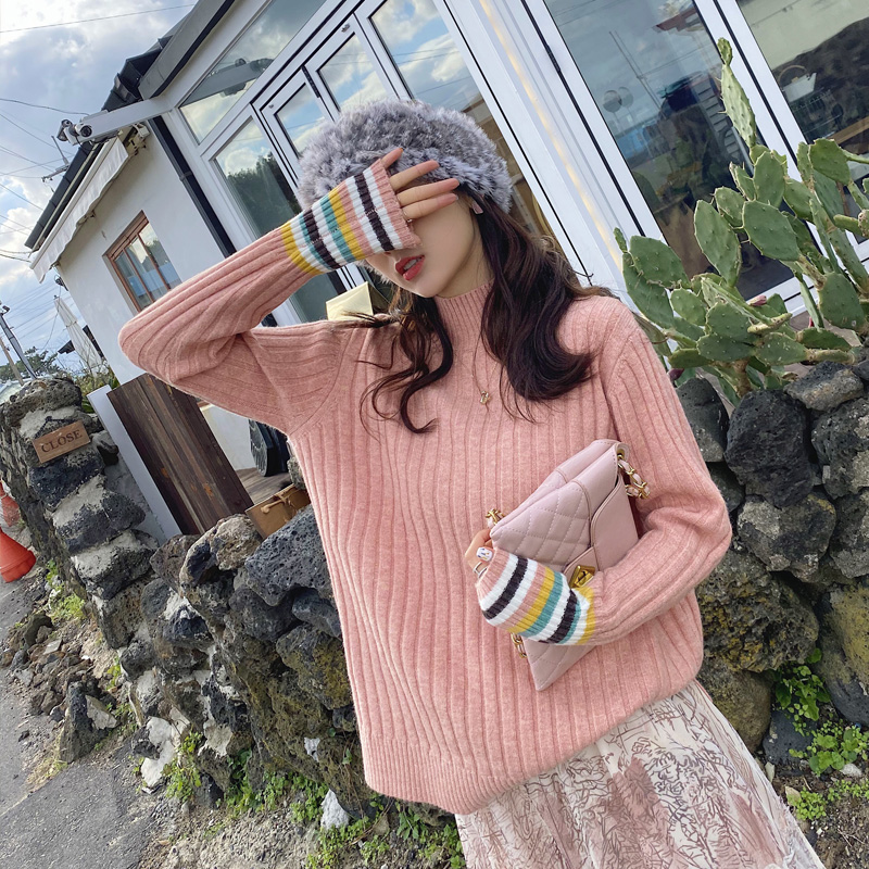 MISHOW Atumn Winter Turtleneck Sweater Women Causal Stripe Ribbed Cuffs Loose Pullover Tops  MX19D5639