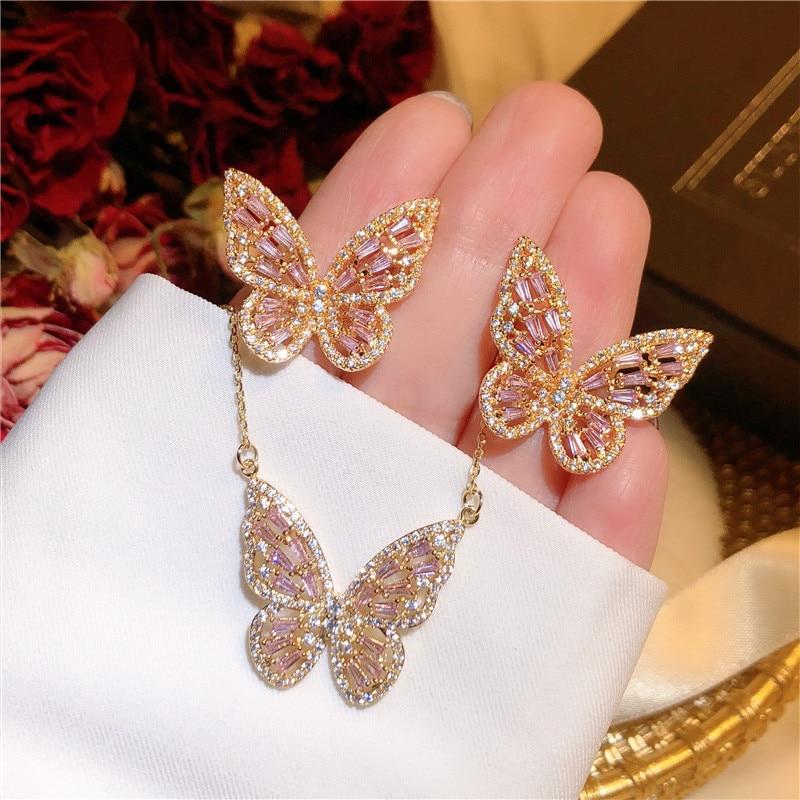 Fine Jewelry Sets For Women 925 Sterling Silver Vintage Pink Hollow Butterfly Cubic Zirconia Stud Earrings Necklaces Pendants
