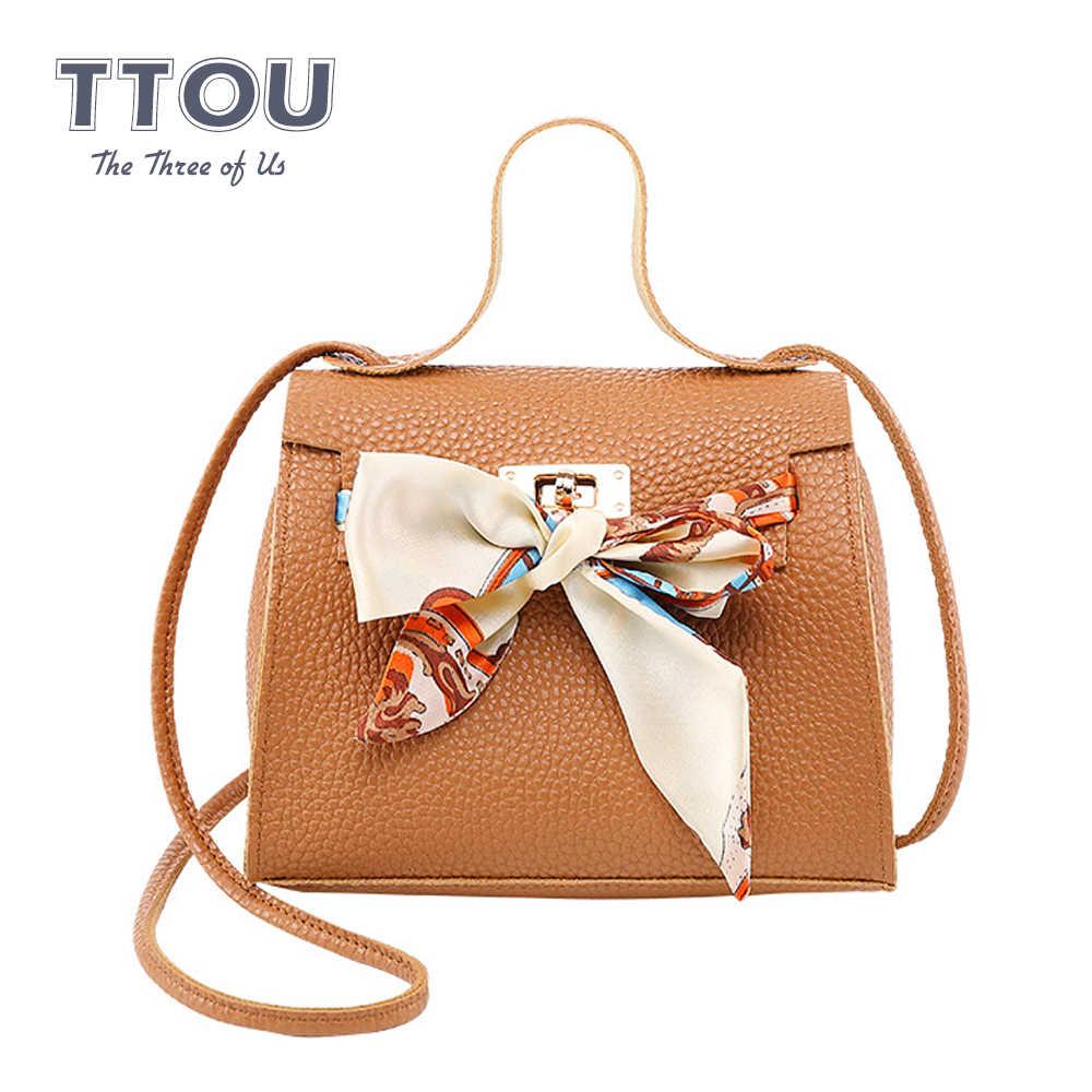 Ttou Fashion Wanita Mini Tas Tangan dengan Syal PU Kulit Wanita Tas Bahu Kasual Top-Handle Tas Kurir Selempang Dropshipping