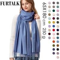 Женский шарф из кашемира FURTALK, теплый шарф из пашмины, мягкий длинный палантин, несколько цветов, зима 2019
