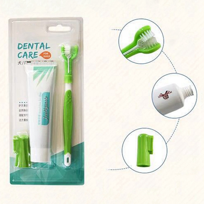Pet Toothbrush Set Hot Puppy Vanilla/Beef Taste Toothbrush Toothpaste Dog Cat Finger Tooth Back Up Brush Care Wholesales image