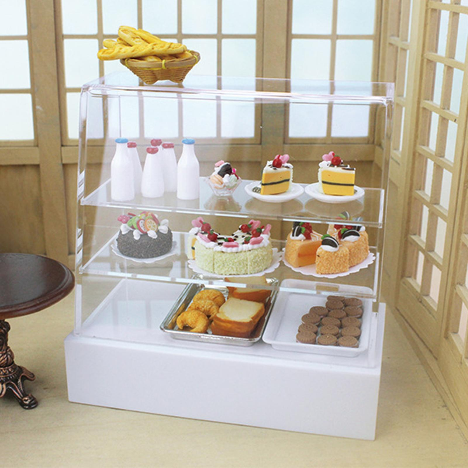 Miniature Dollhouse Toy Sliding Door Snack Cake Cabinet Model DIY Play Gift Kids Educational Toys for Children Gifts