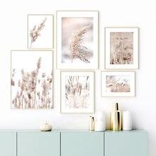 Planta seca bege, retrato de trigo nórdico, posteres e impressões, arte de parede, pintura de tela, imagens de parede para sala de estar, casa decoração